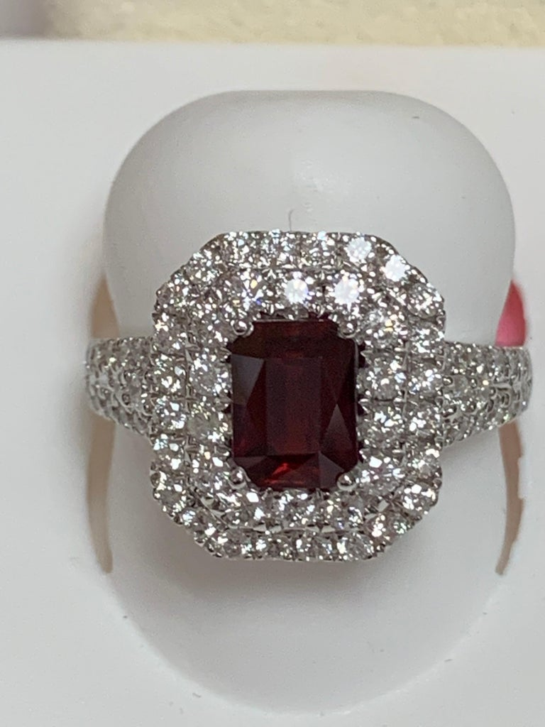 Artisan GIA Certified 1.39 Carat Ruby and Diamond Ring For Sale