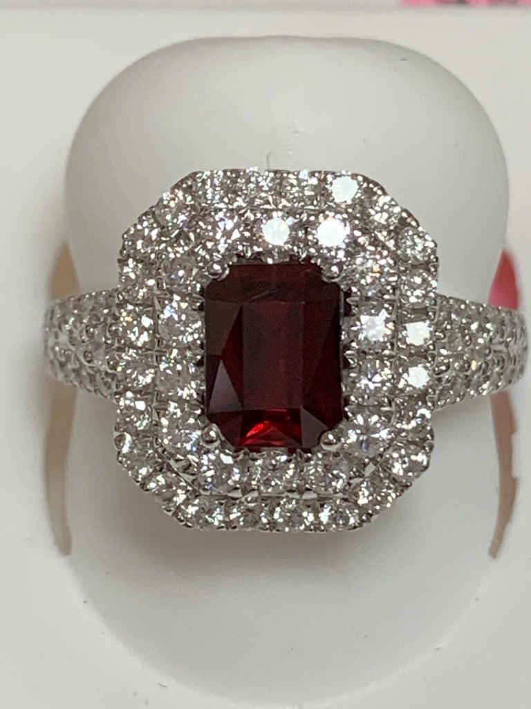 Emerald Cut GIA Certified 1.39 Carat Ruby and Diamond Ring For Sale