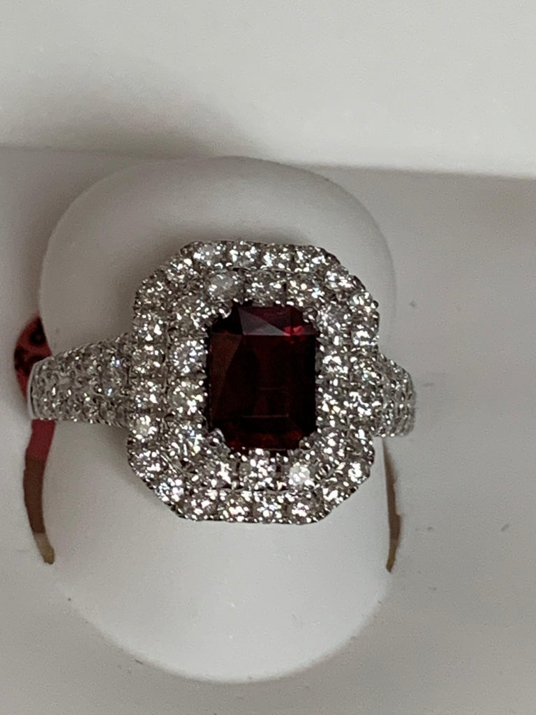 GIA Certified 1.39 Carat Ruby and Diamond Ring In New Condition For Sale In Trumbull, CT