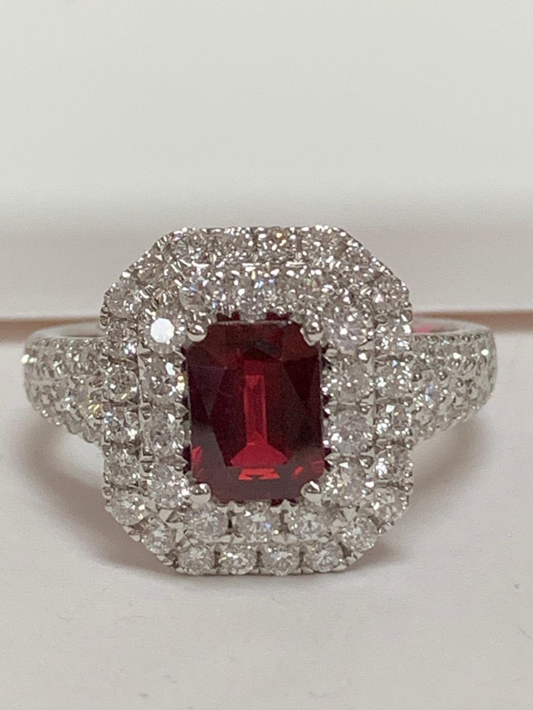 Women's GIA Certified 1.39 Carat Ruby and Diamond Ring For Sale