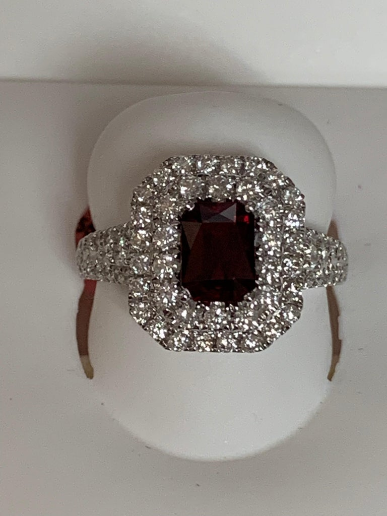 GIA Certified 1.39 Carat Ruby and Diamond Ring For Sale 1