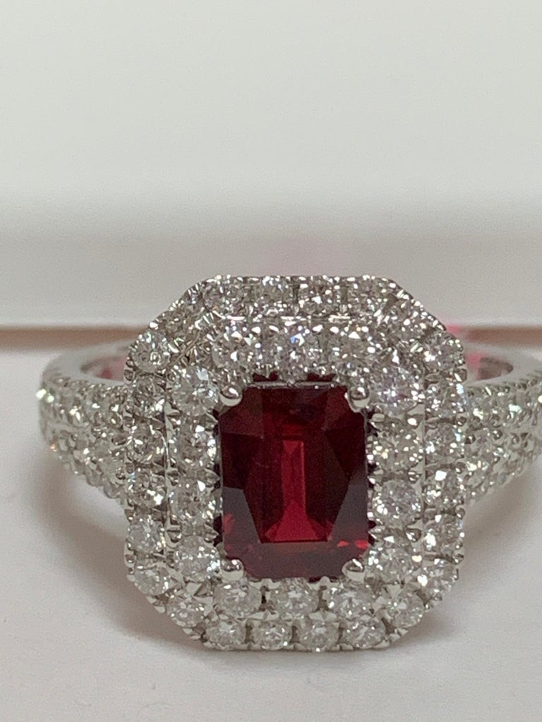 GIA Certified 1.39 Carat Ruby and Diamond Ring For Sale 3