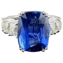GIA Certified 13.97 Carat Burma No-Heat Blue Sapphire Diamond Ring in Platinum