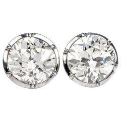 GIA Certified 13.98 Carat European Cut Diamond 18 Karat Gold Stud Earrings