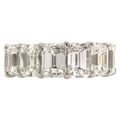 GIA Certified 14 Carat Emerald Cut Diamond Eternity Band Ring Set in Platinum