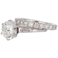 GIA Certified 14 Karat Gold and Diamond Engagement Ring Wedding Set 2.92 Carat