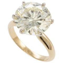 GIA Certified 14 Karat Gold Diamond Solitaire Engagement Ring 6.62 Carat