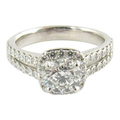 GIA Certified 14 Karat Gold Round .70 Carat Halo Diamond Engagement Ring