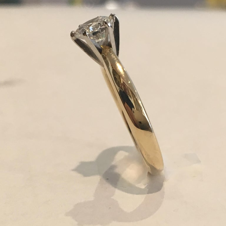 Round Cut GIA Certified 14 Karat Yellow Gold Diamond Solitaire Engagement Ring For Sale