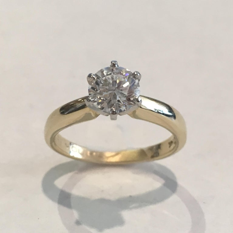 GIA Certified 14 Karat Yellow Gold Diamond Solitaire Engagement Ring In Good Condition For Sale In Laguna Beach, CA