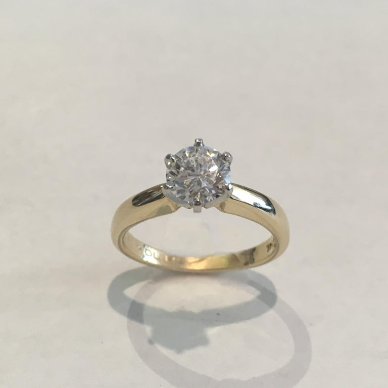 Women's GIA Certified 14 Karat Yellow Gold Diamond Solitaire Engagement Ring For Sale