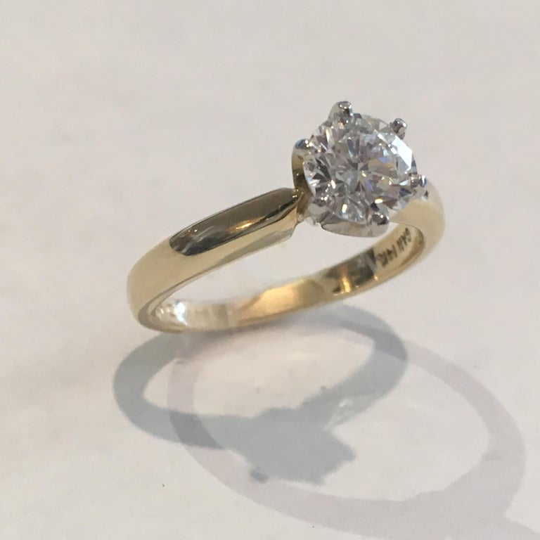 GIA Certified 14 Karat Yellow Gold Diamond Solitaire Engagement Ring For Sale 1