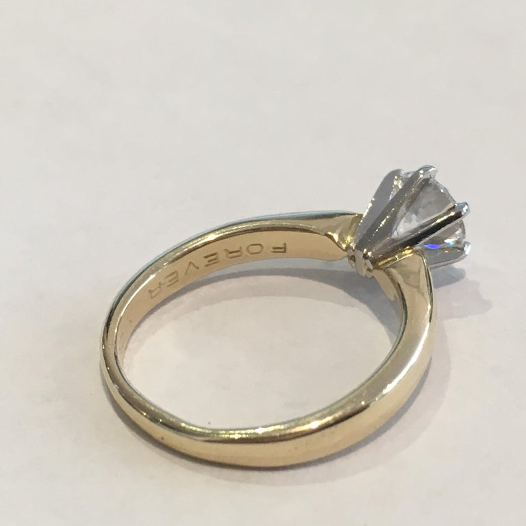 GIA Certified 14 Karat Yellow Gold Diamond Solitaire Engagement Ring For Sale 2