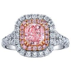 GIA Certified 1.40 Carat Cushion Cut Fancy Intense Purplish Pink Diamond Ring