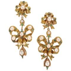 GIA zertifiziert 1,40 Karat Smaragd Perle Gelbgold Ohrhänger Ohrringe