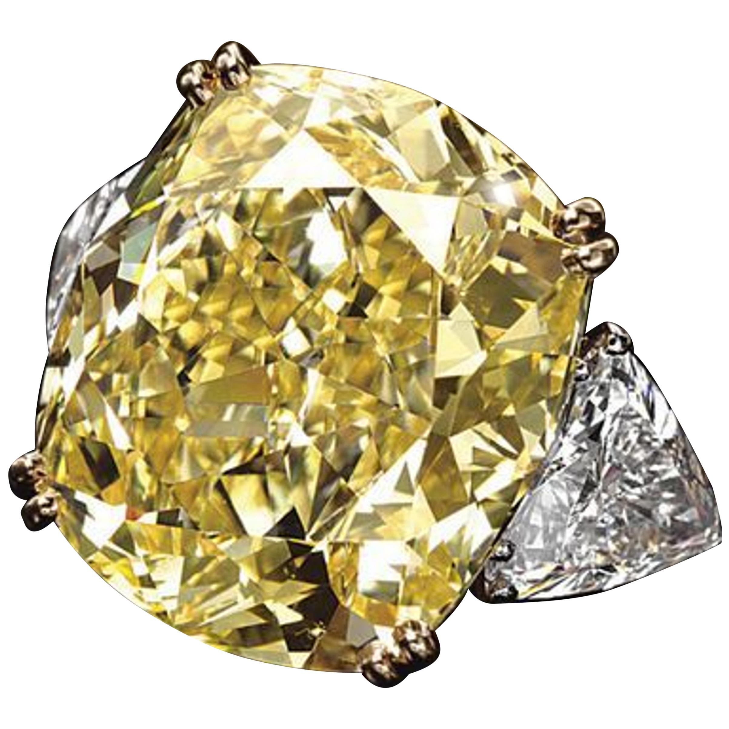 GIA Certified 3 Carat Fancy Light Yellow Cushion Cut Diamond Ring