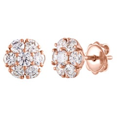GIA Certified 1.40 Carat Pink Diamond Flower Gold Stud Earrings
