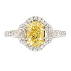 GIA Certified 1.40 Carat Fancy Yellow and White Diamond Ring