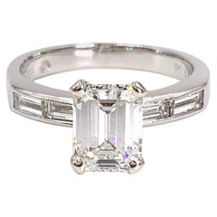 GIA Certified 1.41 Carat Emerald Cut Diamond Platinum Engagement Ring