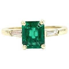 GIA Certified 1.41 Carat Emerald Diamond 18 Karat Ring