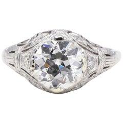 GIA Certified 1.41 Carat Old European Brilliant Diamond Platinum Engagement Ring