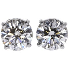 GIA Certified 1.41 Carat Round Diamond Solitaire Stud Earrings in 14 Karat Gold