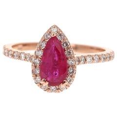 GIA Certified 1.41 Carat Ruby Diamond 14 Karat Rose Gold Bridal Ring
