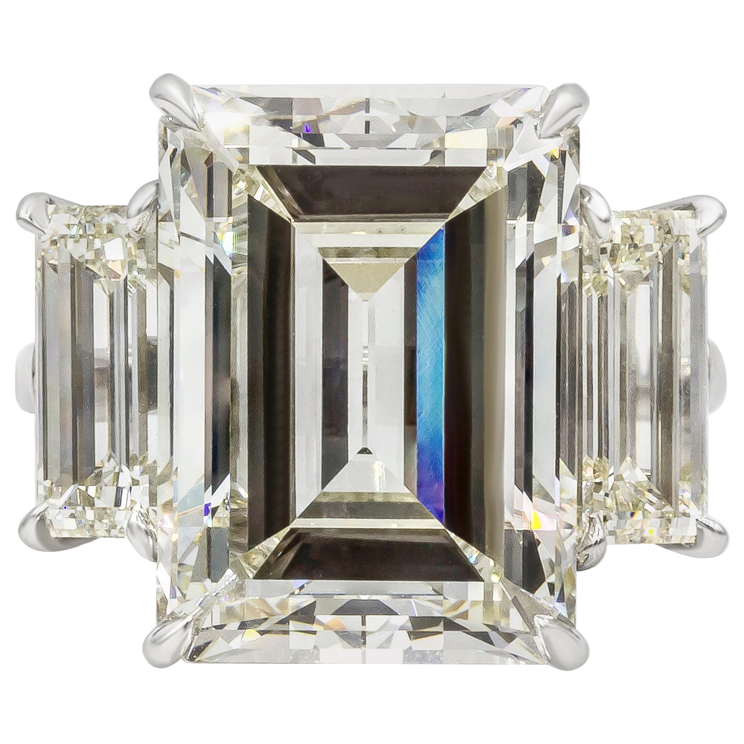 GIA Certified 14.18 Carat Emerald Cut Diamond Three-Stone Engagement Ring