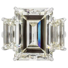 GIA Certified 14.18 Carat Emerald Cut Diamond Three-Stone Engagement Ring