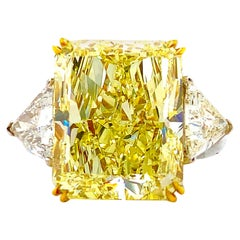 GIA Certified 14.20 Carat Fancy Yellow Radiant Cut Diamond Engagement Ring