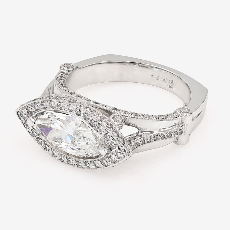 GIA Certified 1.42cts. Marquise Cut Center and Round Diamond Ring in 18kt WG In New Condition For Sale In Chicago, IL