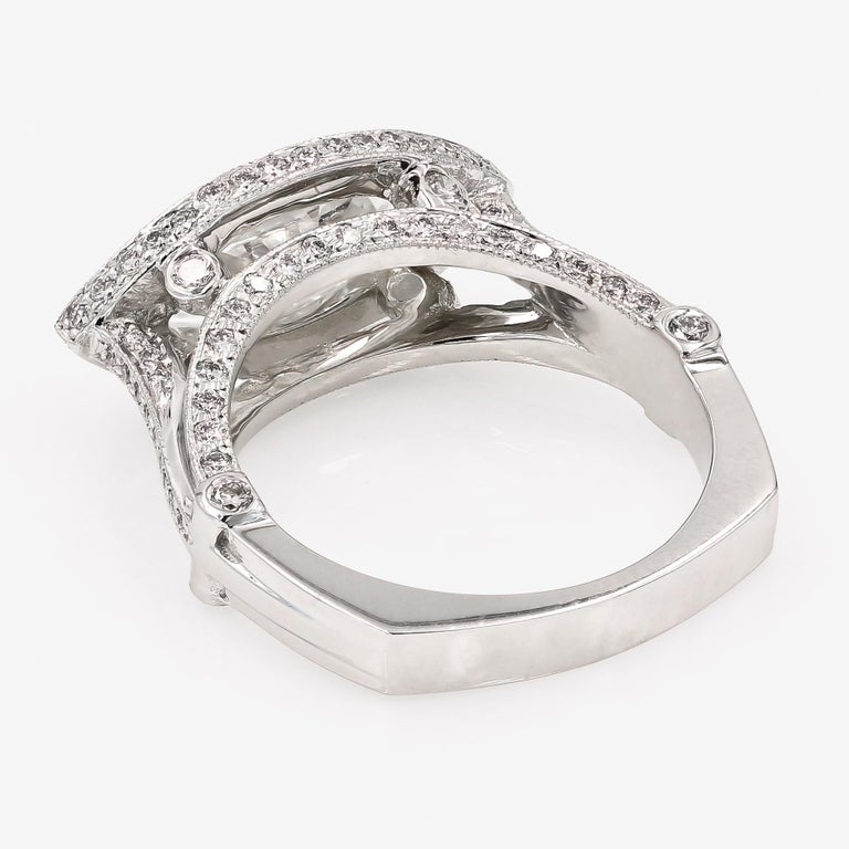 Women's GIA Certified 1.42cts. Marquise Cut Center and Round Diamond Ring in 18kt WG For Sale