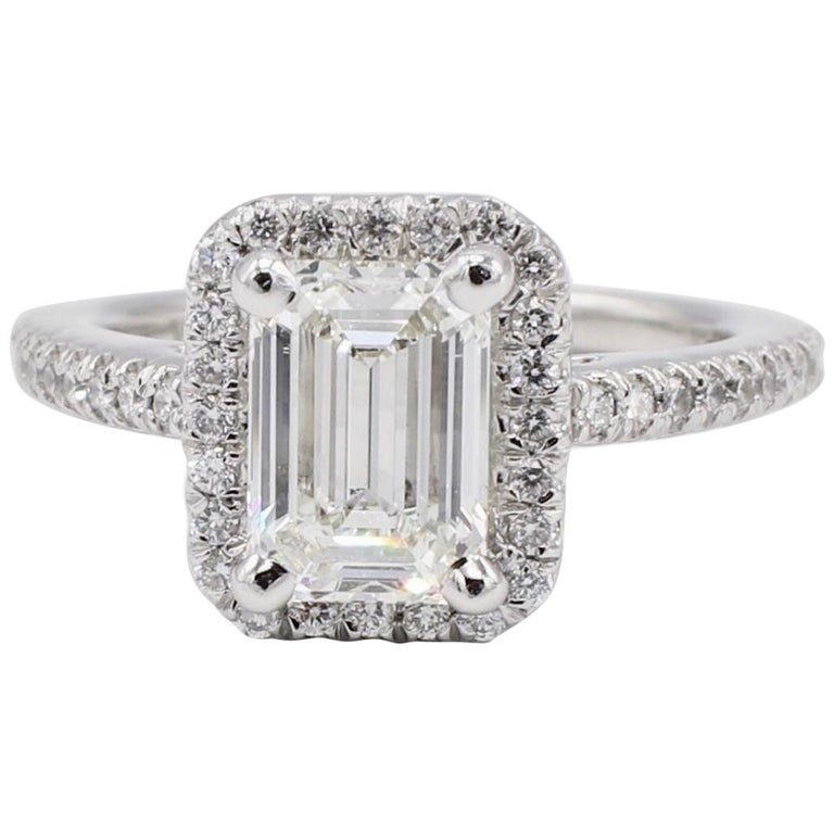 GIA Certified 1.43 Carat I IF Emerald Cut Halo Diamond Engagement Ring