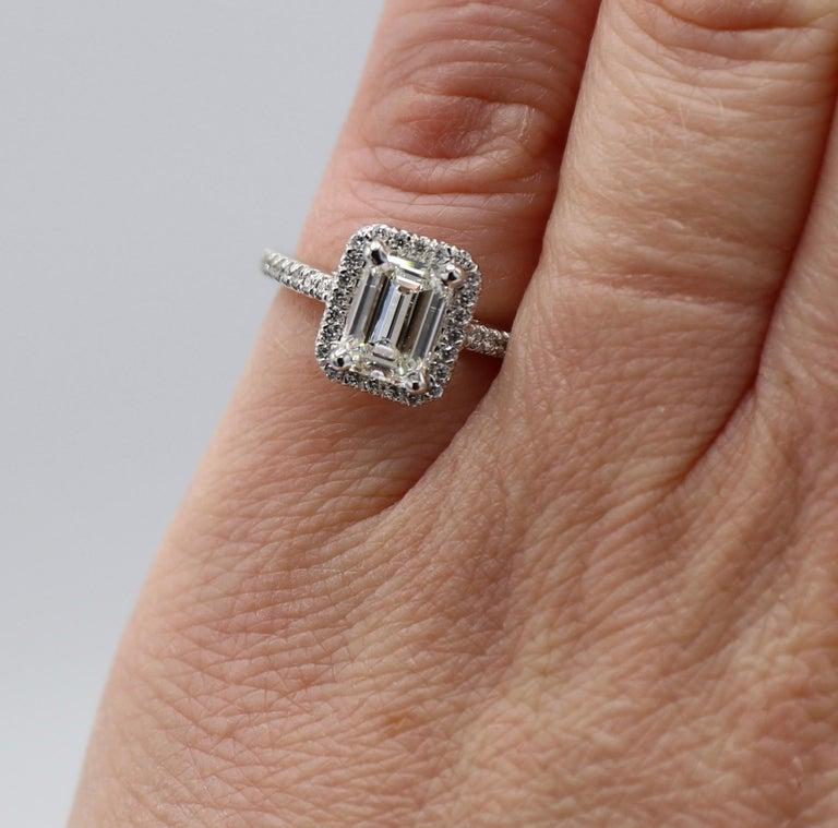 GIA Certified 1.43 Carat I IF Emerald Cut Halo Diamond Engagement Ring 5