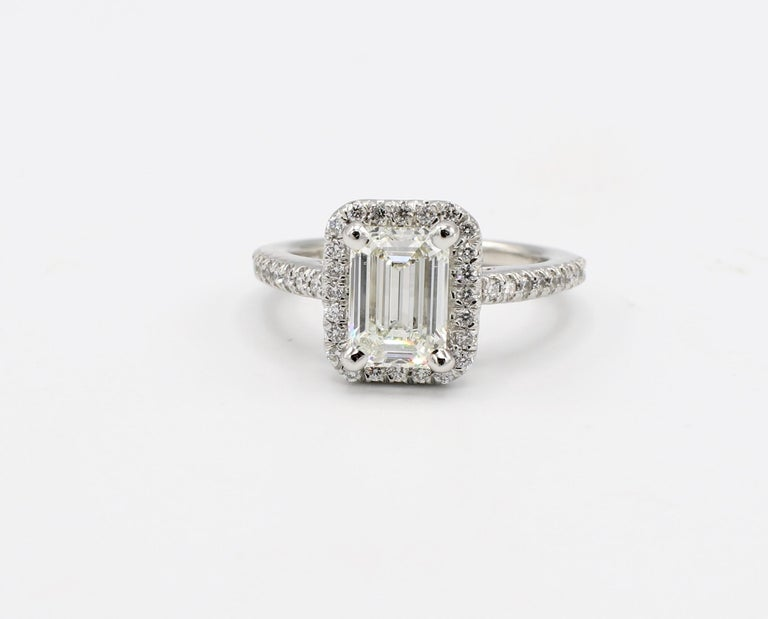 GIA Certified 1.43 I IF Carat Emerald Cut Halo Diamond Platinum Engagement Ring Size 4.5   GIA Report Number: 5136532345 (please note picture of report copy for details) Carat weight: 1.43 carat Color: I Clarity: Internally Flawless  Polish: