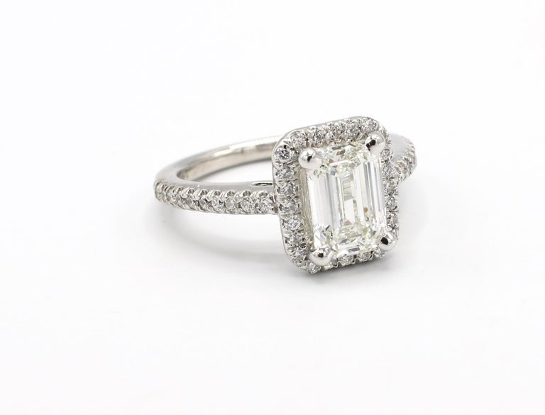 Modern GIA Certified 1.43 Carat I IF Emerald Cut Halo Diamond Engagement Ring
