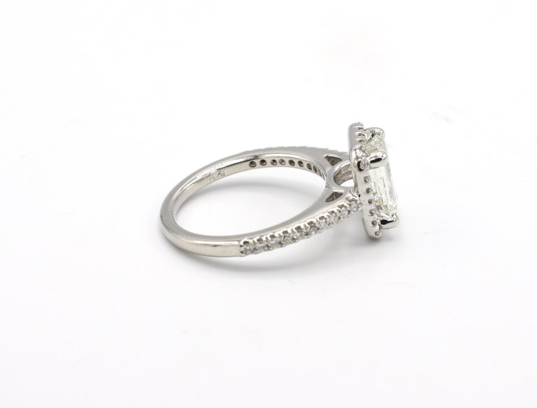 GIA Certified 1.43 Carat I IF Emerald Cut Halo Diamond Engagement Ring In Excellent Condition In  Baltimore, MD