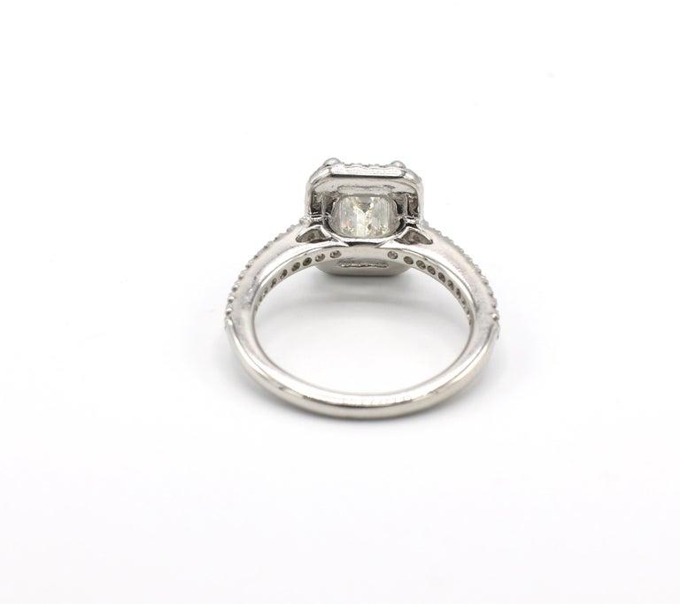 Women's GIA Certified 1.43 Carat I IF Emerald Cut Halo Diamond Engagement Ring
