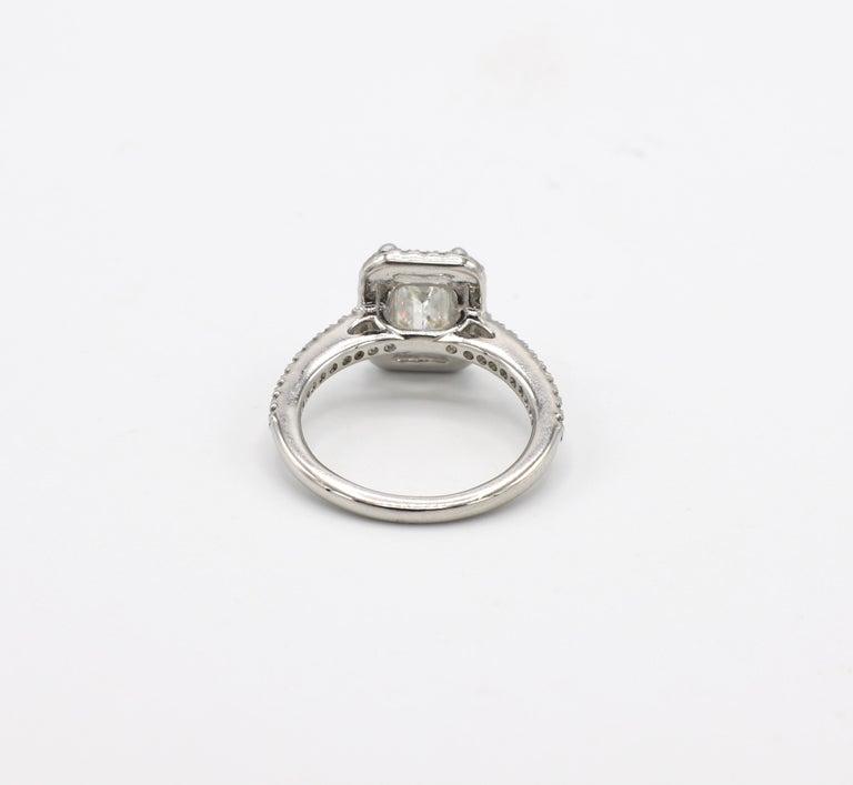 GIA Certified 1.43 Carat I IF Emerald Cut Halo Diamond Engagement Ring 1