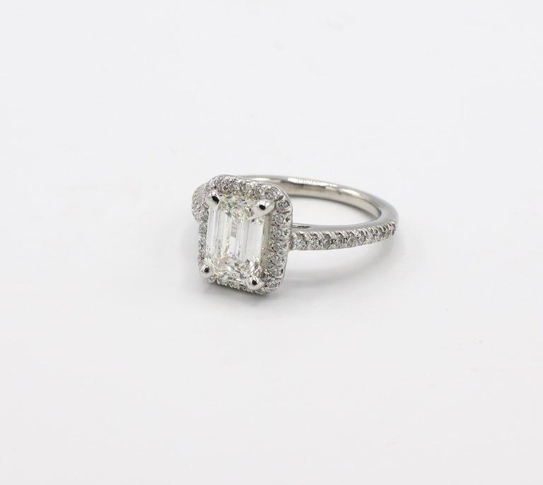 GIA Certified 1.43 Carat I IF Emerald Cut Halo Diamond Engagement Ring 2
