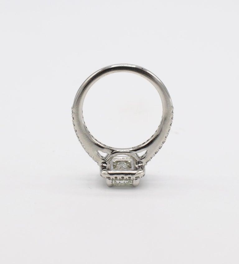 GIA Certified 1.43 Carat I IF Emerald Cut Halo Diamond Engagement Ring 3