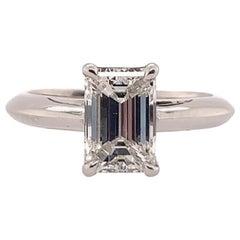 GIA Certified 1.45 Carat G VVS1 Emerald Cut Modern Plat Diamond Engagement Ring