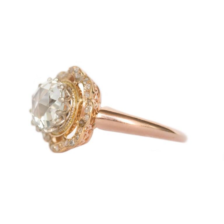 Item Details:  Ring Size: 6.75 Metal Type: 14 Karat Rose Gold Weight: 3.7 grams  Center Diamond Details GIA CERTIFIED Center Diamond - Certificate # 2191045166 Shape: Rose Cut  Carat Weight: 1.46 carat Color: J Clarity: SI1  Side Stone Details: