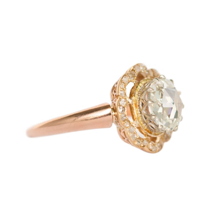 Victorian GIA Certified 1.46 Carat Diamond Rose Gold Engagement Ring For Sale