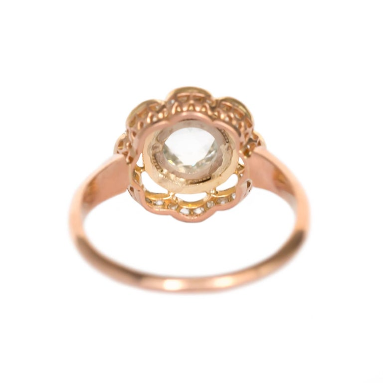 GIA Certified 1.46 Carat Diamond Rose Gold Engagement Ring In Excellent Condition For Sale In New York, NY