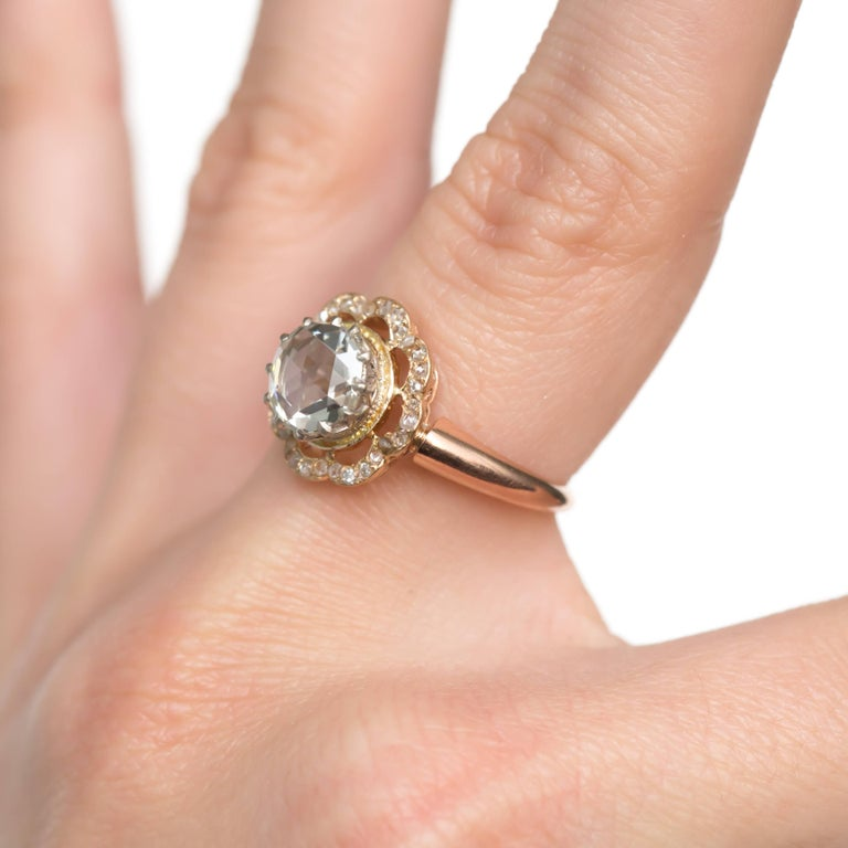 GIA Certified 1.46 Carat Diamond Rose Gold Engagement Ring For Sale 2