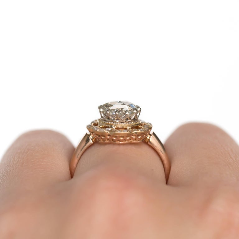 GIA Certified 1.46 Carat Diamond Rose Gold Engagement Ring For Sale 3