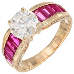 GIA Certified 1.47 Carat Diamond Ruby Yellow Gold Engagement Ring