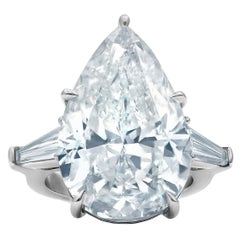 GIA Certified 14.73 Carat F-VS2 Pear Shape Diamond Platinum Engagement Ring