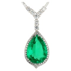 GIA Certified 14.79 Carat Pear Shape Colombian Emerald Pendant